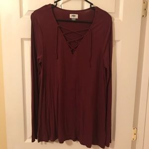 Old Navy Maroon Lace Up Long Sleeve Top